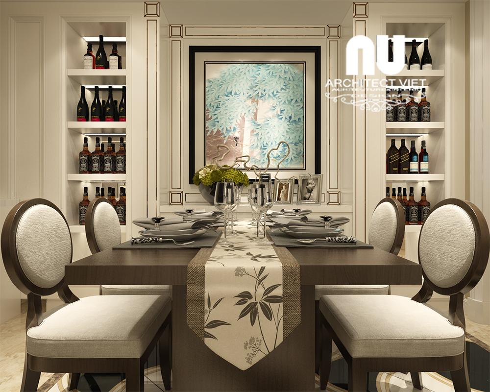 không gian phòng ăn sang trọng với đồ nội thất cổ điển