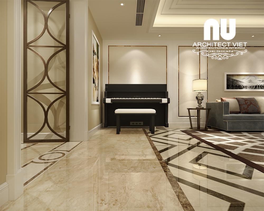 không gian phòng khách lãng mạn với chiếc đàn piano