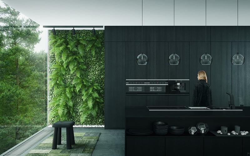 thiết kế nội thất phòng bếp với tone màu đen trắng 2