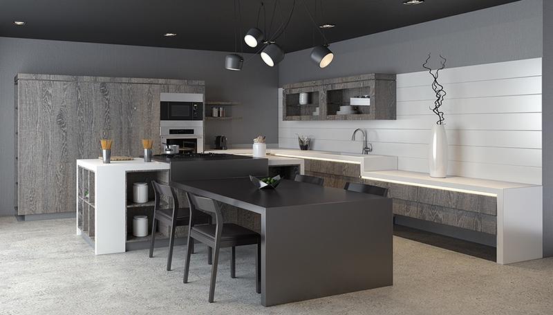 thiết kế nội thất phòng bếp với tone màu đen trắng 3