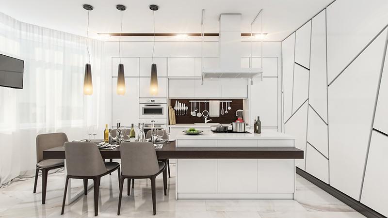 thiết kế nội thất phòng bếp với tone màu đen trắng 4