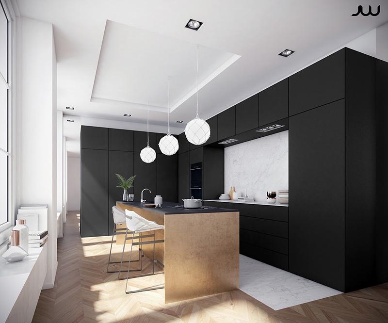 thiết kế nội thất phòng bếp với tone màu đen trắng 5
