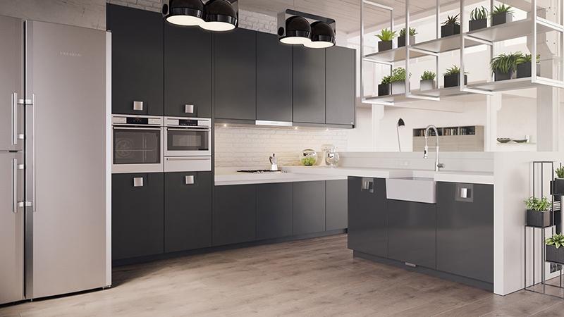 thiết kế nội thất phòng bếp với tone màu đen trắng 6