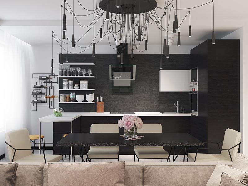 thiết kế nội thất phòng bếp với tone màu đen trắng 7