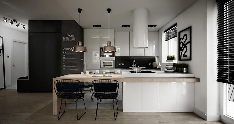 thiết kế nội thất phòng bếp với tone màu đen trắng 8