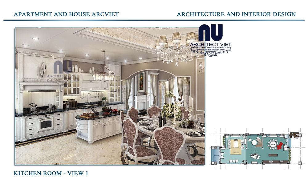 Thiết kế phòng bếp biệt thự tân cổ điển Vinhomes Riverside