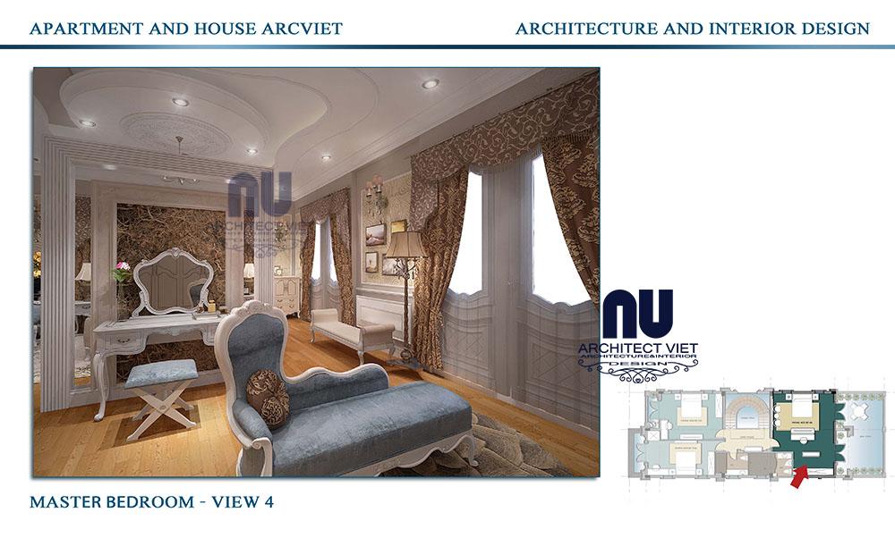 Thiết kế phòng ngủ biệt thự tân cổ điển Vinhomes Riverside