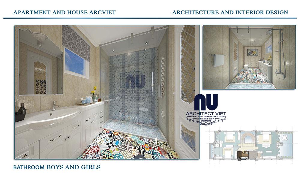 Thiết kế phòng tắm biệt thự Vinhomes Riverside phong cách tân cổ điển