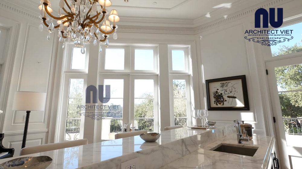 thiết kế không gian bếp sang trọng cho biệt thự vinpearl