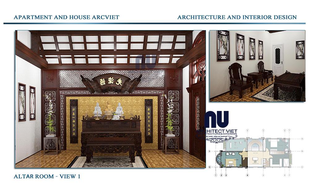 Thiết kế phòng thờ biệt thự Vinhomes Riverside
