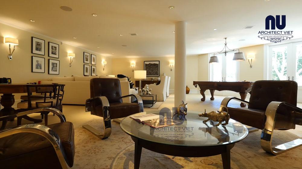 thiết kế nội thất biệt thự vinpearl với không gian sinh hoạt chung rộng