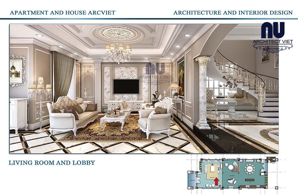 thiết kế nội thất biệt thự tân cổ điển vinhomes riverside