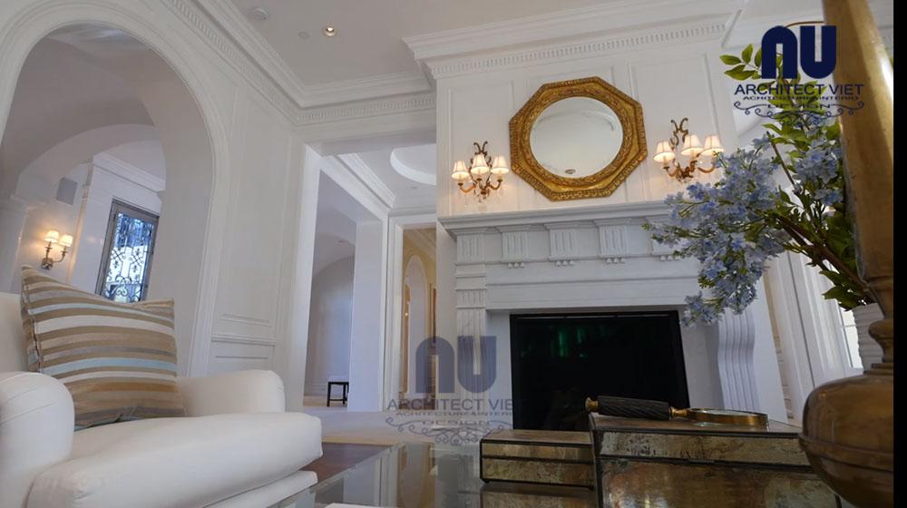 thiết kế nội thất biệt thự vinpearl với phòng khách phong cách châu âu