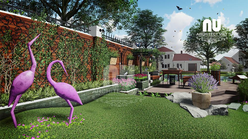 nhiều loại cây được lựa chọn trong mẫu thiết kế sân vườn biệt thự vinhomes