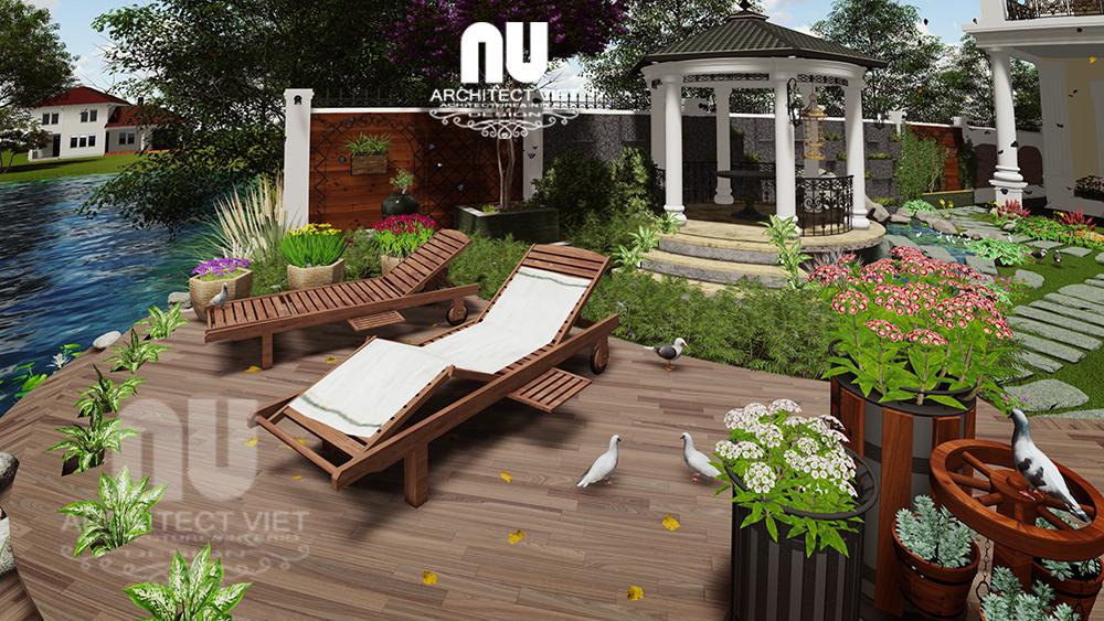 Thiết kế cảnh quan sân vườn biệt thự tân cổ điển Vinhomes Riverside10