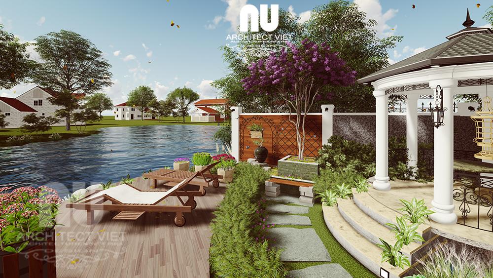 Thiết kế cảnh quan sân vườn biệt thự tân cổ điển Vinhomes Riverside với view nhìn ra sông
