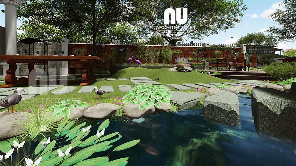thiết kế hồ cá bên trong sân vườn biệt thự