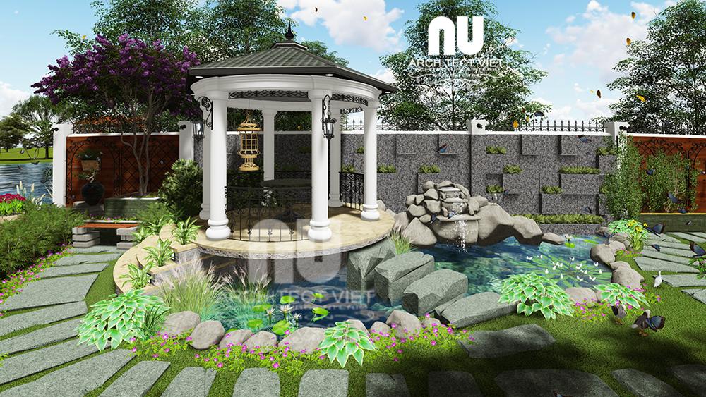 Thiết kế cảnh quan sân vườn biệt thự tân cổ điển Vinhomes Riverside với chòi nghỉ đẹp