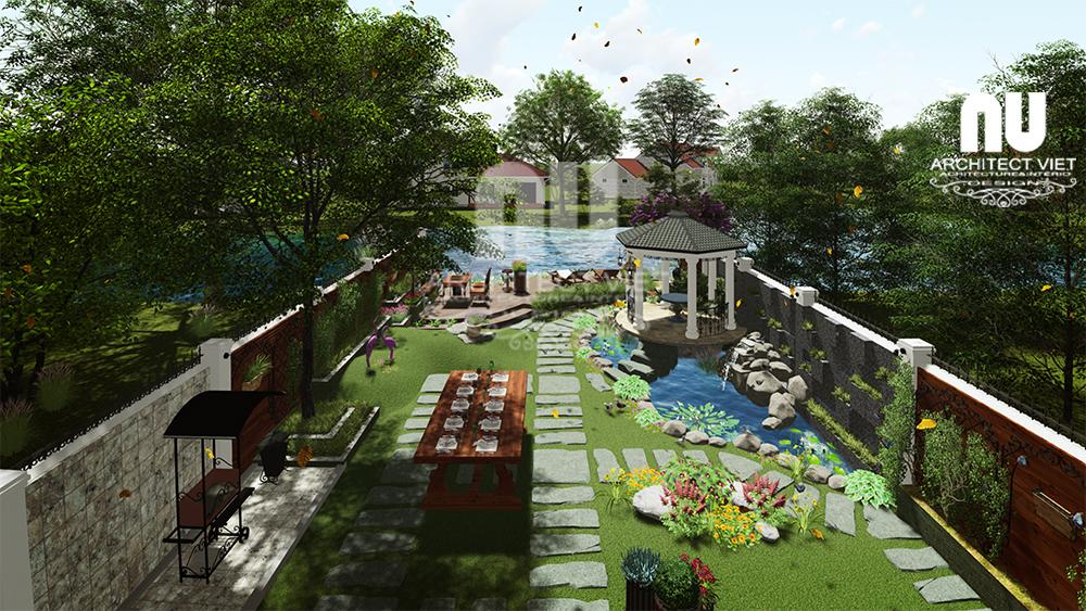 Thiết kế cảnh quan sân vườn biệt thự Vinhomes Riverside