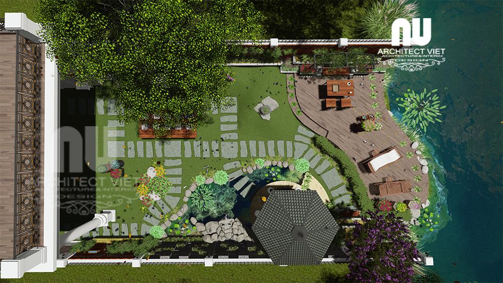 sân vườn biệt thự vinhomes nhìn tổng thể từ trên cao
