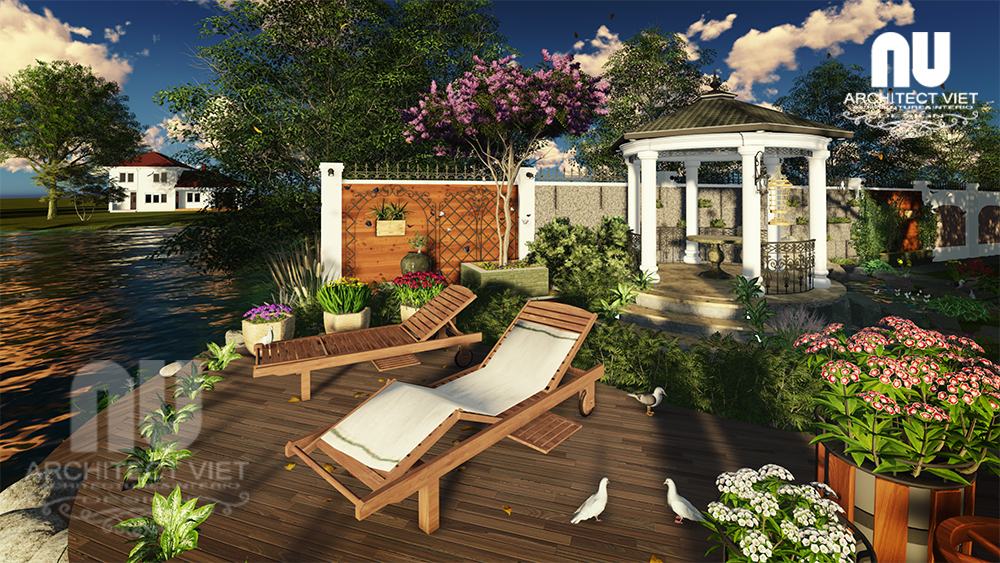 Thiết kế cảnh quan sân vườn biệt thự tân cổ điển Vinhomes Riverside16