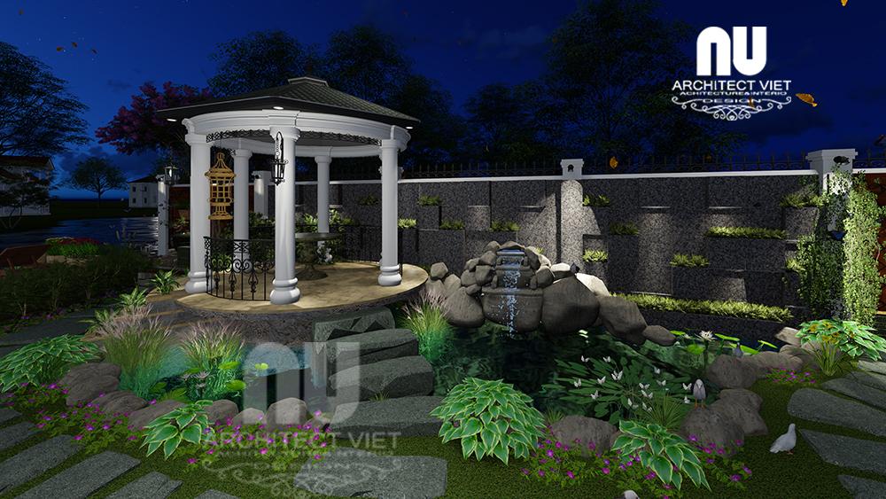 Thiết kế cảnh quan sân vườn biệt thự tân cổ điển Vinhomes Riverside17