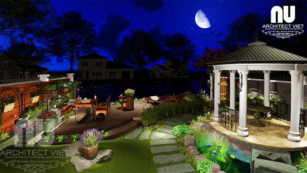 Thiết kế cảnh quan sân vườn biệt thự tân cổ điển Vinhomes Riverside19
