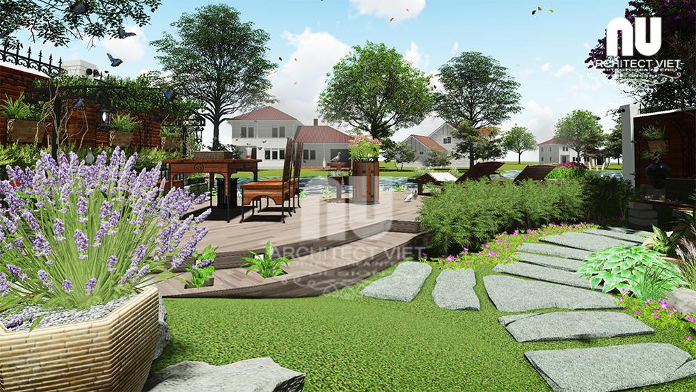 Thiết kế cảnh quan sân vườn biệt thự tân cổ điển Vinhomes Riverside2
