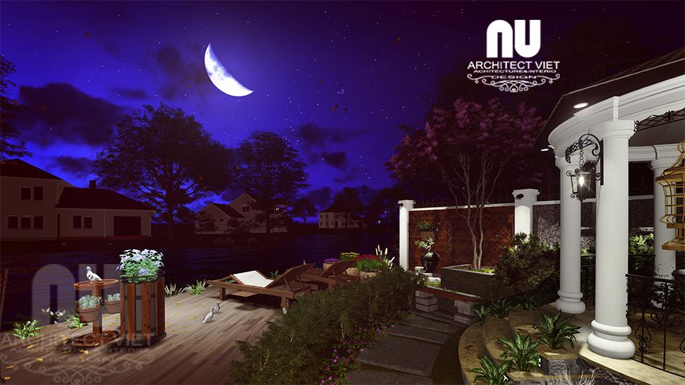 Thiết kế cảnh quan sân vườn biệt thự tân cổ điển Vinhomes Riverside21