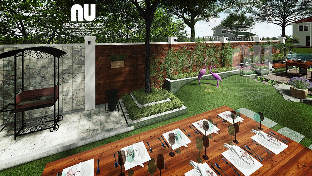 bên trong sân vườn biệt thự vinhomes có bố trí khu vực ăn uống ngoài trời