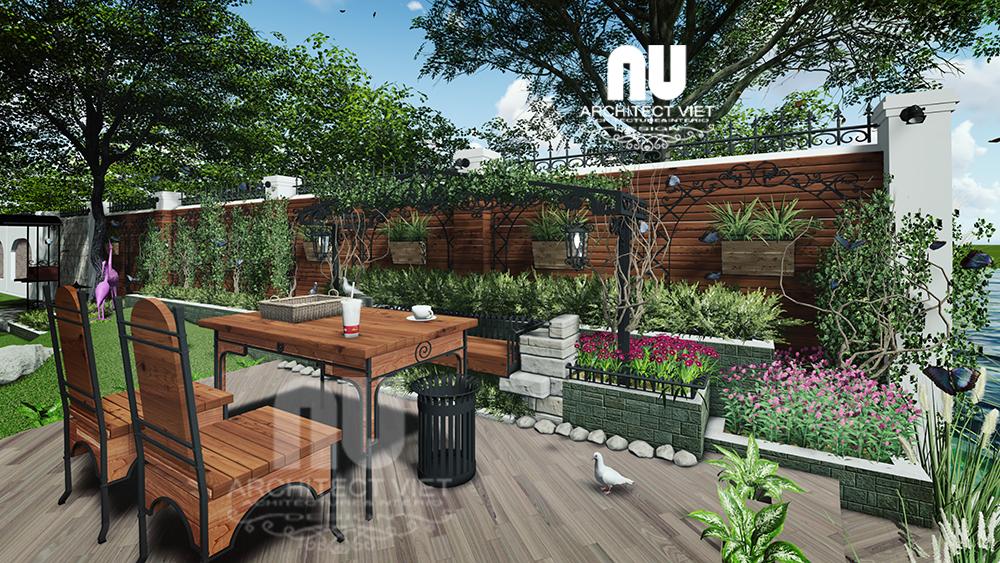 thiết kế cảnh quan sân vườn với khu vực uống trà đẹp