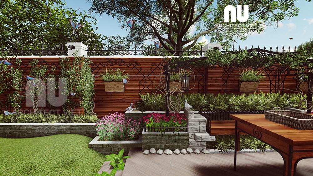 thiết kế sân vườn biệt thự đẹp với khu vực uống trà đẹp