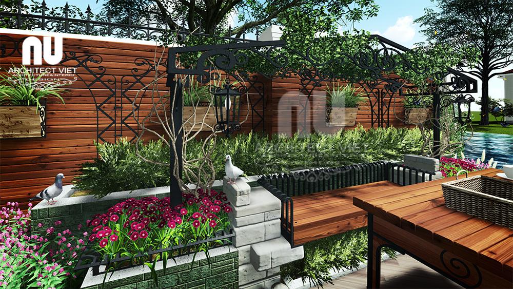 Thiết kế cảnh quan sân vườn biệt thự tân cổ điển Vinhomes Riverside với muôn hoa khoe sắc