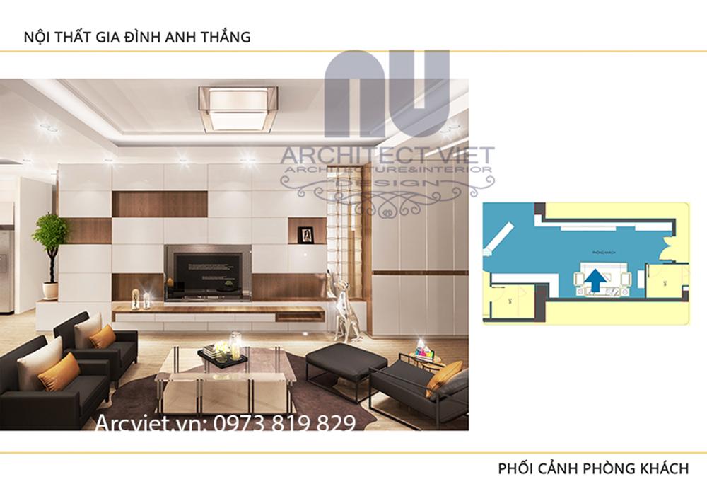 thiết kế nội thất phòng khách chung cư hiện đại 80m2