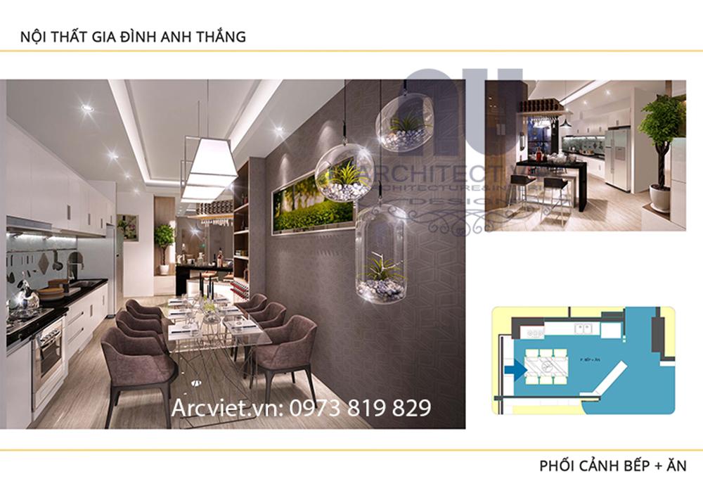 thiết kế không gian bếp và phòng ăn cho căn hộ chung cư 80m2