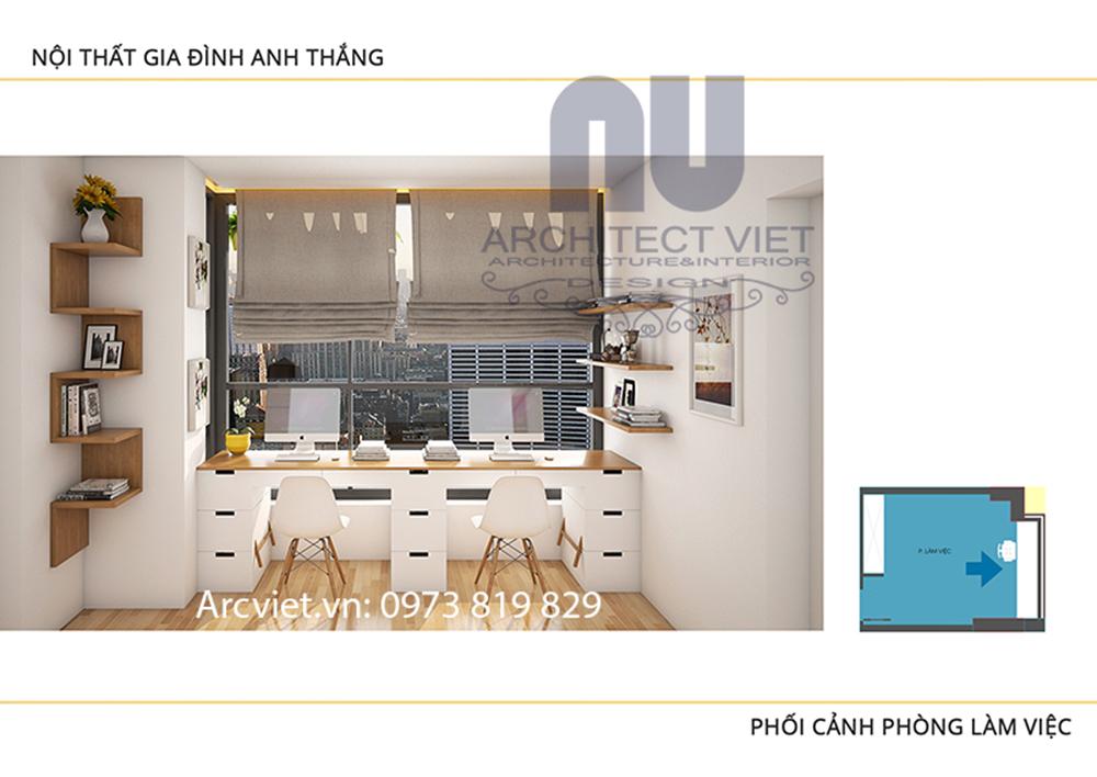 hình ảnh thiết kế nội thất không gian làm việc của hai con