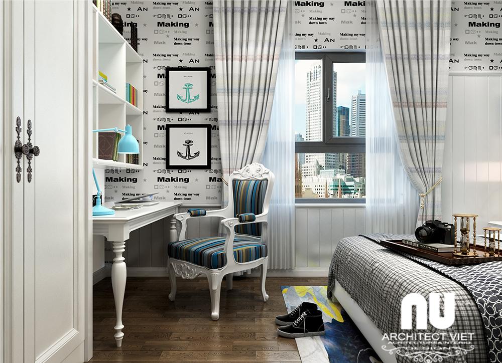 thiết kế nội thất phòng ngủ con trai với tone màu đen trắng