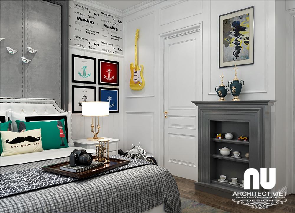 thiết kế nội thất phòng ngủ con trai cá tính