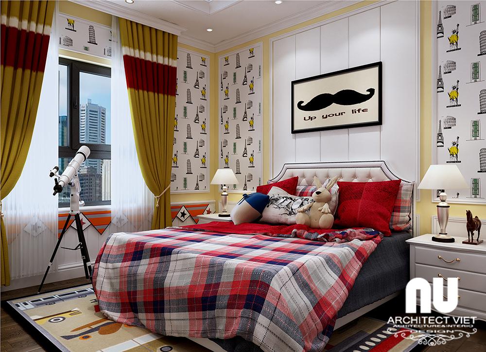 thiết kế nội thất phòng ngủ con trai với màu sắc tươi mới