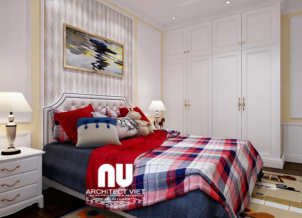 thiết kế nội thất phòng ngủ con trai với gam màu trung tính