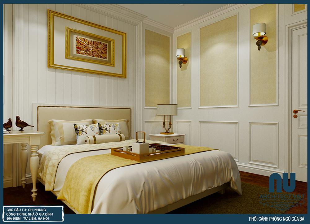 nội thất phòng ngủ của bà nội đơn giản với màu vàng trắng làm chủ đạo