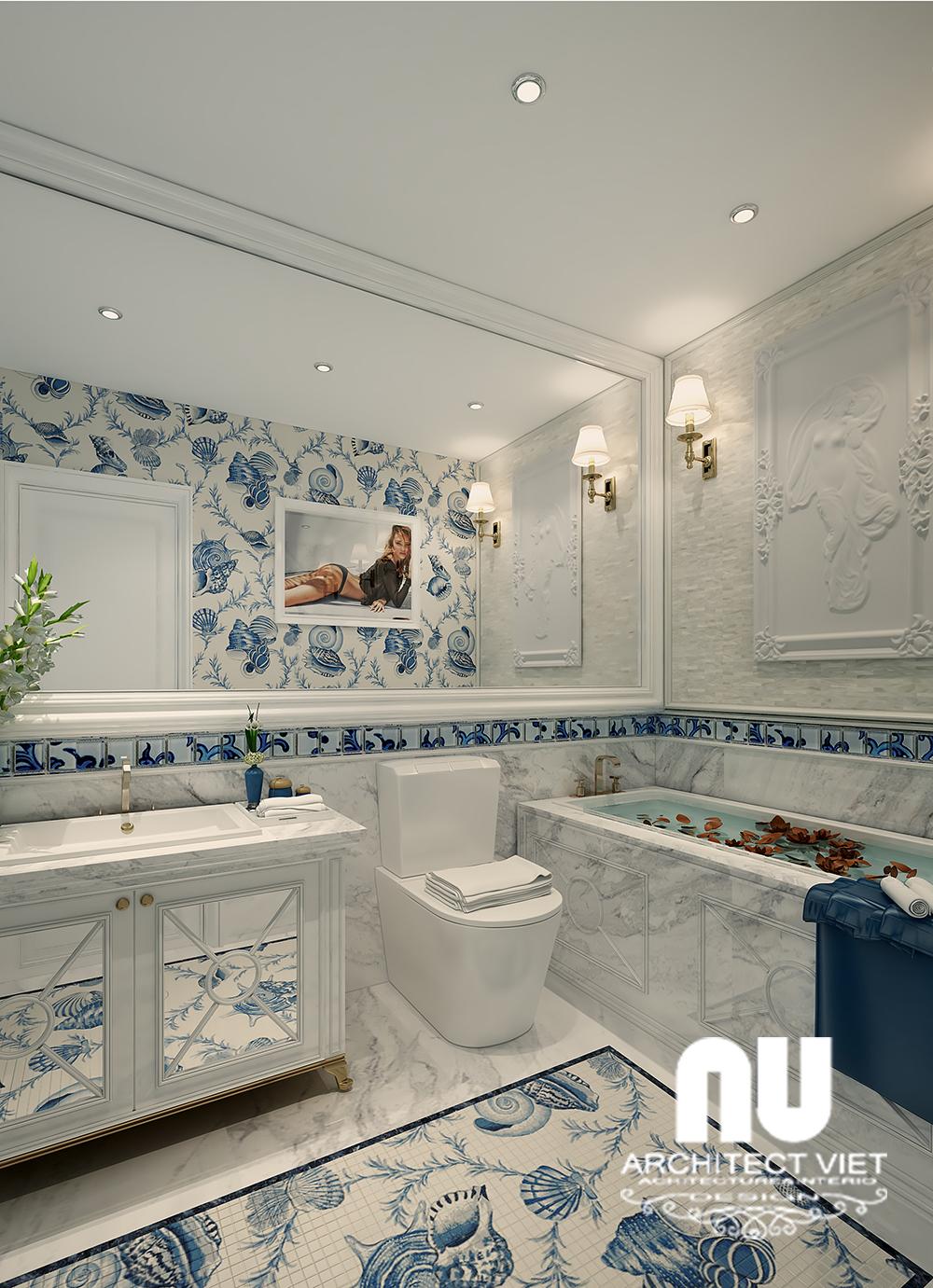 thiết kế nội thất phòng tắm sang trọng với đá ốp cầu kỳ