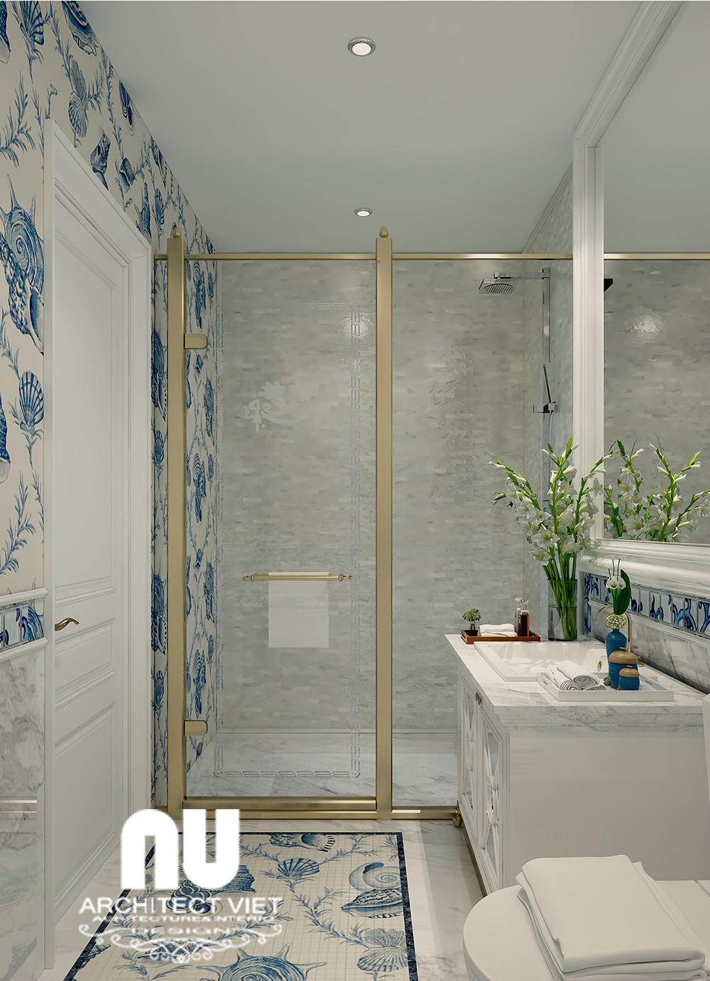 thiết kế nội thất phòng tắm sang trọng với đồ nội thất hiện đại
