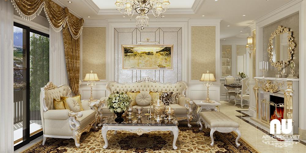 hình ảnh thiết kế nội thất phòng khách sang trọng chung cư gold mark