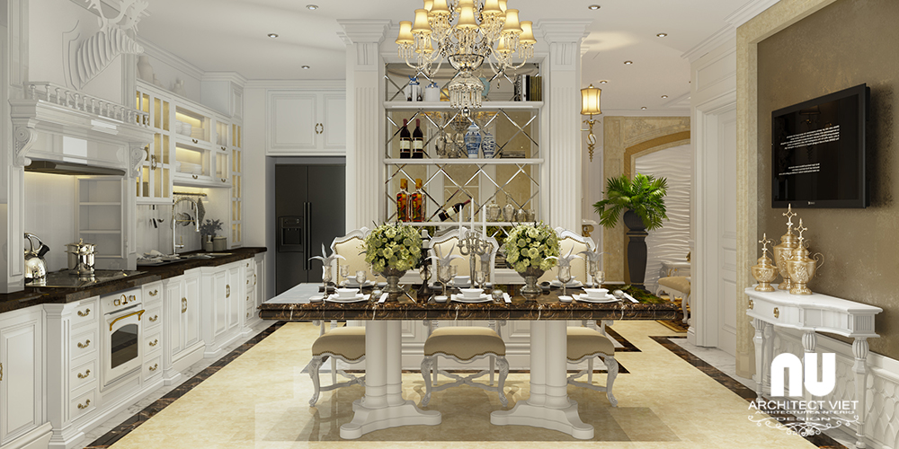 hình ảnh nội thất bếp và phòng ăn chung cư gold mark