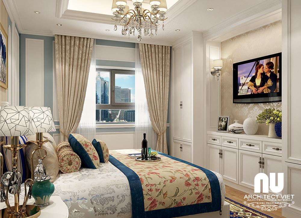 mẫu phòng ngủ tân cổ điển đẹp tại chung cư gold mark