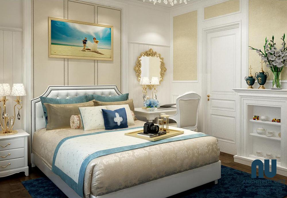 thiết kế nội thất phòng ngủ gold mark với màu sắc ngọt ngào