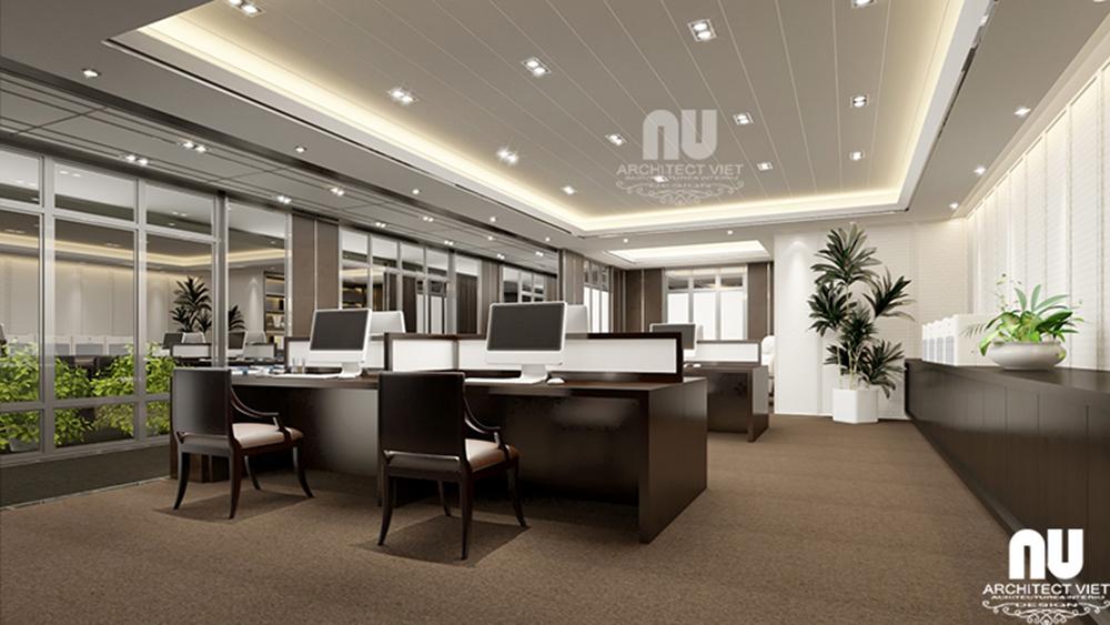 Thiết kế nội thất văn phòng làm việc công ty Việt Âu với không gian làm việc cho nhân viên