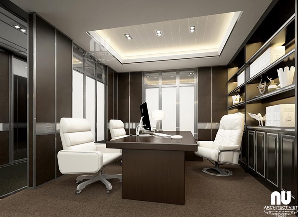 Thiết kế nội thất văn phòng làm việc công ty Việt Âu với văn phòng lãnh đạo