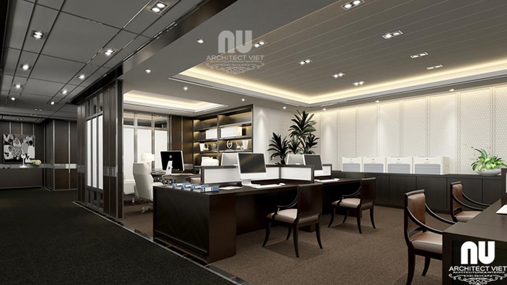 Thiết kế nội thất văn phòng làm việc công ty Việt Âu theo xu hướng mở